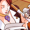 dcupsofjustice: Mia Fey, standing with bamboo stick in hand, looking down at papers. ([o] again: what's the victim's name?)