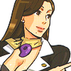 dcupsofjustice: Mia Fey, looking off-screen, smiling. ([o] looking forward)