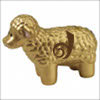 """dreamwidth_idol: A 3-D model of a gold metallic sheep with the Dreamwidth """"D"""" on its side in deep brown (DW Idol)"""