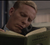 hedda62: James Hathaway on the phone while reading Titus Andronicus (titus andronicus)