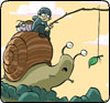 psocoptera: cartoon of boy riding snail (snail)