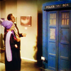 turlough: Eleanor Bron & John Cleese in Parisian art gallery admiring the TARDIS, Fourth Doctor adventure 'City of Death' ((dr who) work of art)