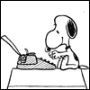 elizabeth_rice: Snoopy typing on his typewriter (Snoopy typing)