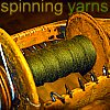 "littlemousling: Flyer of a spinning wheel with the phrase ""spinning yarns"" above it (spinning)"