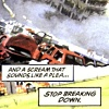ilyena_sylph: Uncle Sam mini panel, the destroyed Murrah building with text 'and a scream that sounds like a plea. stop breaking down' (Uncle Sam: stop breaking down)