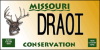 "triadruid: Missouri Conservation Department's deer logo plate, with the word ""DRAOI"" on it (druidmobile)"