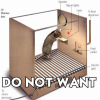 triadruid: Rat in a skinner box, pressing on the lever. Caption: Do Not Want! (skinner box, do not want)