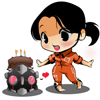 silentrunning: A cute, chibi Chell holding a companion cube with a cake on top of it. (Default)