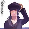 momijizukamori: Isamu Nitta from Shin Megami Tensei Nocturne. The text reads 'solitude' (Isamu | solitude)