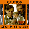 "language_escapes: Holmes working on chemistry with Watson leaning over him, caption reading ""Caution: Genius at Work"" (Genius at work)"