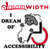 "dw_accessibility: Dreamwidth Sheep in a wheelchair with the text ""I Dream Of Accessibility"" (Default)"