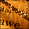majoline: photo from a book with a chain and focused on the word Awe (Awe)
