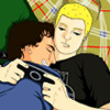poala: A drawing by Wufei_w of two of our dearest friends having a cuddle party (Ross and Little Mike) (Default)