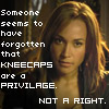 """ultranos: teyla with """"are you serious?"""" look. text: """"someone seems to have forgotten that kneecaps are a privilege. NOT A RIGHT."""" (teyla calls shennanigans)"""
