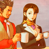 dcupsofjustice: Young Mia Fey and Diego Armando, smiling and chatting over tea and coffee, respectively. ([y] i like my coffee black)