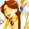 dcupsofjustice: Mia Fey, smiling and waving what appears to be an envelope above her head. ([o] check out what i got~)