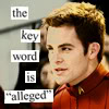 """erika: Reboot!James T. Kirk, Anne Taintor style lettering:  The key word here is """"alleged."""" (st aos: alleged! (jtk))"""