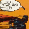 "dancesontrains: Art of Superman flying and saying ""Next stop, Gay City!"" (Superman goes to Gay City)"