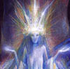 arethinn: Faery with a shining crown and aura (otherkin (froud sidhe))
