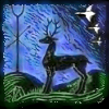 arethinn: Black stag on green ground, in front of a blue sky with geese and a stang with crossed arrows (pagan (nigel stang))