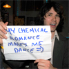 "hector_rashbaum: Ryan Ross w/ ""My Chemical Romance makes me dance"" sign (ryan rossy)"