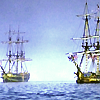were_duck: two ships on the ocean, clear blue sky (Age of Sail ships)