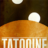 sporky_rat: Antique travel poster for Star Wars planets. Text: TATOOINE (Tatooine)