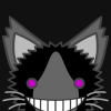lime_blooded: A very scruffy black-and-grey cat with neon-pink eyes and a wide smile. (kitty)