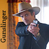 "cereta: Raylan Givens pointing a gun, word ""Gunslinger"" (Raylan)"