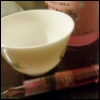 butterflydreaming: A pink fountain pen, a tea cup, and a bottle of sake (Pink)