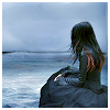 somniferum: a dark haired girl with red tips, wearing a long black dress, seated, looking out across a stormy sea (contemplation)
