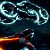 skye_writer: Cropped screencap of lightcyles (one blue, one red) from the film TRON: Legacy. (TRON)