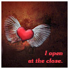 "laeria: Winged heart with the caption ""I open at the close."" (i am about to love)"