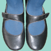 queen_ypolita: A photo of feet in petrol-coloured thick tights and black mary janes (Shoes)