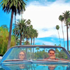 wendelah1: Two people in a convertible, palm trees in the background (Bones)