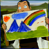 red_eft: Sokka of Avatar: TLA holds up a picture of mountains (and a rainbow) (...you added a rainbow.)