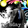 "everysecondtuesday: The text reads ""Tuesday.""  The image is of Castiel being amazing. (tuesday is colorful, castiel is a bamf)"