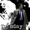 """everysecondtuesday: The text reads """"Tuesday.""""  The image is of Castiel being amazing. (castiel: still a bamf)"""