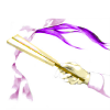 inoru_no_hoshi: Folded Japanese hand-fan in a hand, fan partially over the implication of kimono & hair, shaded purple, on white. (Sai fan)