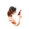 goodbyebird: Sarah Connor Chronicles: Cameron holding a gun, overlayd by John's face. (SCC Cameron John protector)