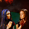goodbyebird: Illyria from Angel and Cameron  from the Sarah Connor Chronicles looking at one another. (X Illyria Cameron)