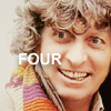 fish_echo: A photo of the Fourth Doctor (of Doctor Who) with his scarf. Text says 'fourth' (Fandom-DW-4th scarf)