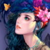 jenna_marianne: drawing of girl with flower in hari looking at an orange butterfly (ohwow25)