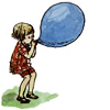 forestofglory: E. H. Shepard drawing of Christopher Robin blowing up a large blue ballon (ballon)