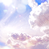 trascendenza: pale clouds against a blue sky with lens flares. (-pretty pale clouds.)