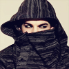 rosebee: Adam Lambert's eyes peeking through the high neck & hood of a jacket (NinjaAdam)
