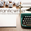 "apollymi: Typewriter and paper, text reads ""Fanfic writer"" (My Writing: Fanfic Writer)"