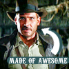 "birgitriddle: icon of Indiana Jones with the words ""Made of Awesome"" pointing at him (Indiana Jones - Made of Awesome)"