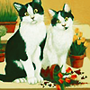 dalegardener: Illustration of black and white cats with broken plant pot (Cats)