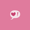 tree: pink on pink speech bubble with a heart and an exclamation mark ([else] heart-o-bang)